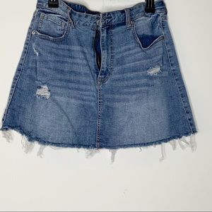 AEROPOSTALE distressed mini denim skirt. Frayed